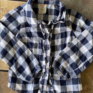 Wonderkids Blue Plaid Ruffle Button Down Shirt
